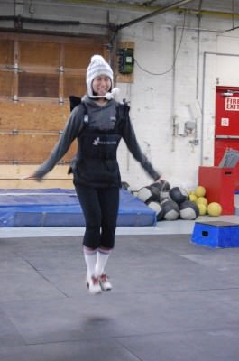 Ever try backwards double-unders?  What about weighted backwards double-unders?  How about while wearing a giant togue?